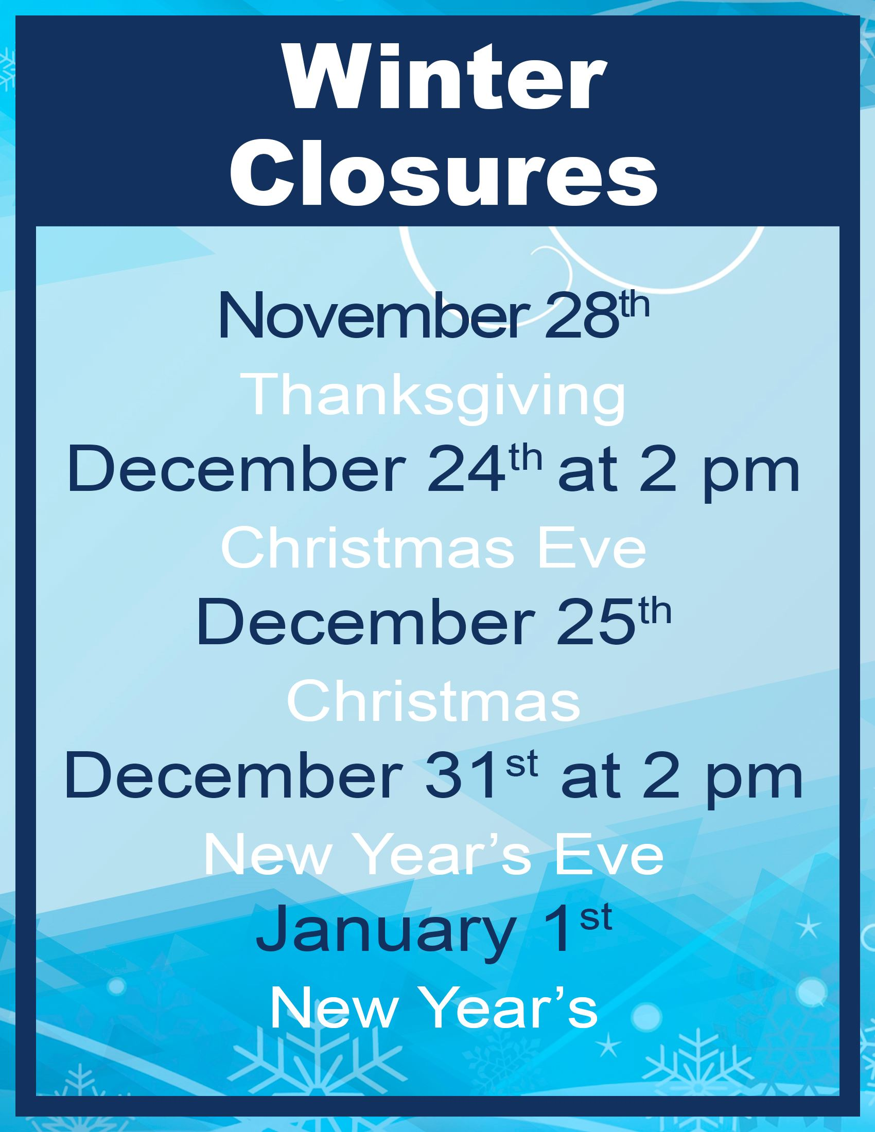 Winter Closures 19